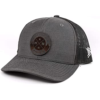 OSFA//Camo Branded Bills Minnesota /'The North Star/' Leather Patch Hat Curved Trucker