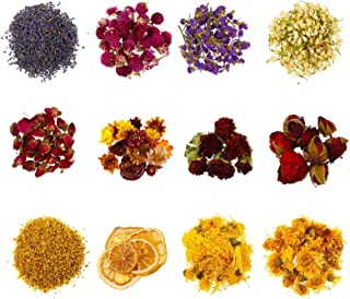 Xinzistar 12 Types Natural Flowers Dried Flower Kit Multiple Mixed Pressed Flowers Colorful Real Dry Flower Crafts Accesso...