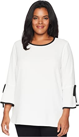 Plus Size Long Sleeve Blouse w/ Tie Wrist