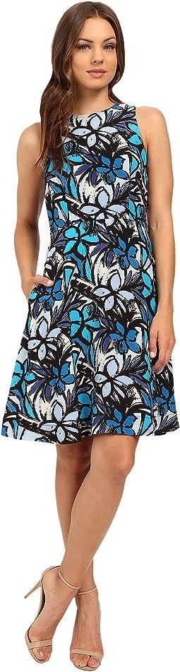 Faille Wide Strap A-Line Dress