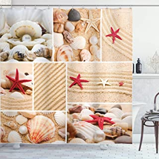 Ambesonne Tropical Shower Curtain, Collage Macro Photos of Seashells Pearls Pebbles and Starfish on Sandy Beach, Cloth Fabric Bathroom Decor Set with Hooks, 70