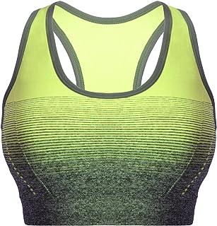 Mujer Sujetador Deportivo Push Up Bustier con Amplio Correas Fitness Yoga Camisetas Sin Mangas 3738