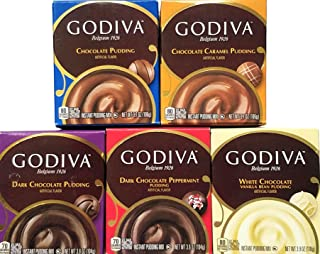 Variety Pack of 5 - Godiva Chocolate Instant Pudding Mix -
