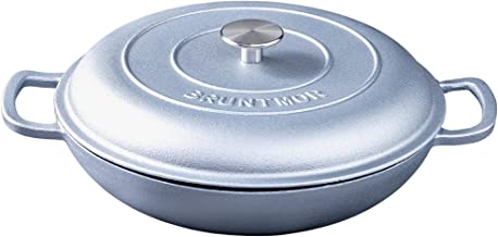 Silicone Oil Non-Stick Enameled Cast Iron Shallow Casserole Braiser Pan with Cover, 3.8-Quart, (Silver)