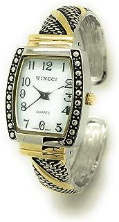 Ladies Square Antique Modern Metal Bangle Cuff Fashion Watch Pearl Dial Wincci