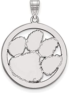 Clemson University Tigers School Mascot Logo in Sterling Silver Circle Pendant 27x26mm