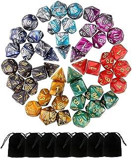 Monuary 49 stuks D&D-dobbelstenen, polyester dobbelstenen en rollenspellen voor Dungeons & Dragons met 7 zakken, 7 sets va...