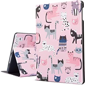 iPad Air 2 Case, iPad Air Case Pink Cats iPad 9.7 Inch Case Protective Cover for Apple iPad 5th/6th Generation, Free-Angle Viewing Case with Auto Wake / Sleep Function for Kids (Cute Cats)