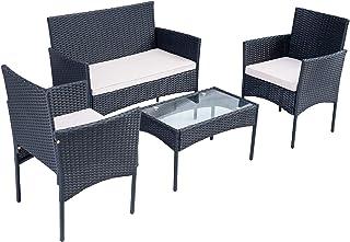Moimhear Juego de muebles de jardín de polirratán para 4 personas, incluye asiento acolchado y mesa de balcón, color negro