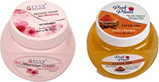 PINK PLUMS Glowing Skin-Whitening Massage Cream and Haldi Chandan Facial Gel With Vitamin E, COMBO (PACK OF 2), Each 250 ml