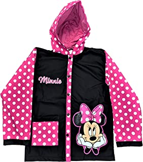 Minnie Mouse Black and Pink with White Pock A Dots Slicker Rain Jacket