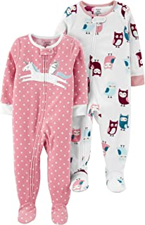 Carter's Girls' Toddler 2-Pack Loose Fit Fleece Footed...
