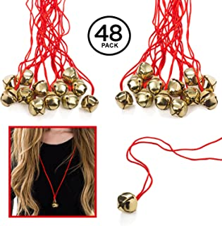 Funny Party Hats Jingle Bell Necklaces - 4 Dozen - Bulk Christmas Necklaces - Gold Bell Necklaces