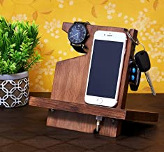 Eximious India Mother's Day Special Wooden Mobile Phone Docking Station, Desk Organizer for Smartphone, Watch, Wallet, Shades, Keys, Coins, Handmade Men's Gift, for Him, for Husband, Dad