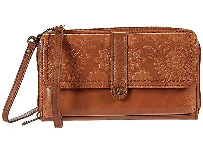 The Sak Sequoia Smartphone Flap Crossbody (Tobacco Floral Embossed) Handbags