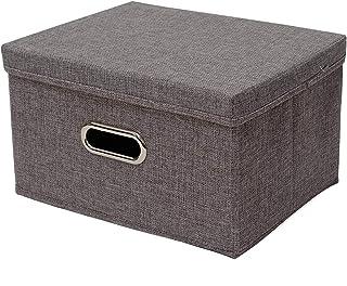 Ihomepark Boites de Rangement en Lin de Coton, 34x25x18cm Cube de Rangement de Vetement Pliable avec Couvercle et Poignées...