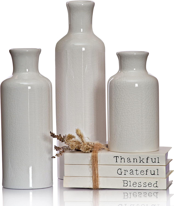 Modern Farmhouse Vase Set of 3 Mantle Decor, White Vases for Decor, Decorative White Vase Centerpiece Accent, Ceramic Vase Set for Farmhouse Living Room, White Vase Set of 3 Tabletop Decor