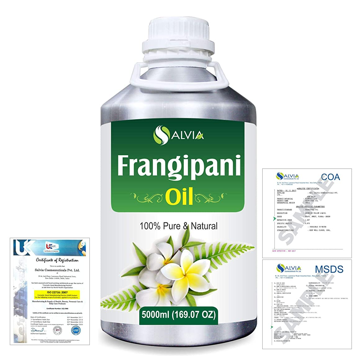 ドアミラー無心貨物Frangipani (Plumeria Alba) 100% Natural Pure Essential Oil 5000ml/169fl.oz.