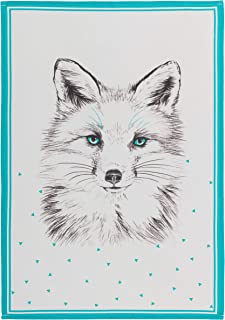 Coucke French Cotton Jacquard Towel, Renard (Fox) Print, 20-Inches by 30-Inches, White and Turquoise