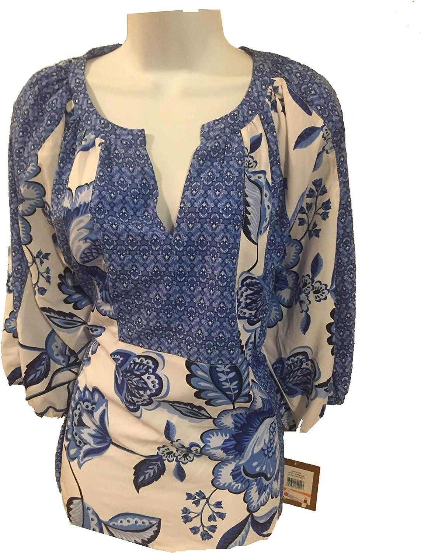 Ellen Tracy Women's V Neck Lace up Sleeve Empire Waist Top S