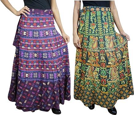 48e4623dcf Indiatrendzs 2pc Women's Cotton Wrap Around Skirt Ethnic Rapron Boho Skirt  Free Size Green,Purple