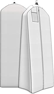 """Wedding Gown Gusseted Garment Bag - 20"""" Gusset for Large Bridal and Prom Dresses with Boxed Bottom - ID Window - 72"""" x 24"""" - White and Grey - Monster Bag Collection by Your Bags"""