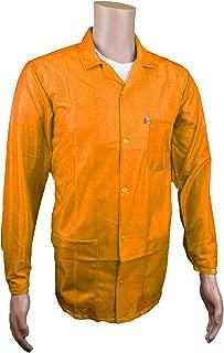 Static Care ESD Jacket, Lapel Collar and Snap Adjustment Sleeve, Hi-Visibility Orange, XS