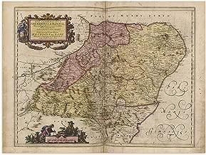 The Blaeu Prints | Aberdeenshire, Scotland - Historical Map Print from Antique Atlas by Joan Blaeu - Old Map Shows: Aberdeen, Elgin, Peterhead