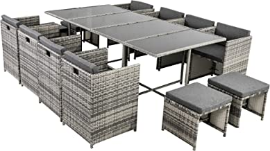13 Piece Outdoor Dining Set with Cushions Rattan Wicker Weather Resistance Garden Furniture Patio Setting - Grey
