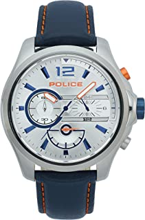 Police Denver Chronograph Silver Case, Silver Dial And Drk Blue Leather Watch For Men - PL 15403JS-04