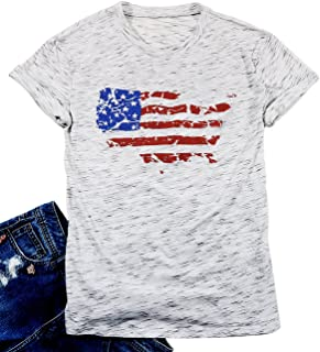 FAYALEQ Women's American Flag Print Graphic T-Shirt Casual Short Sleeve Tops Tee Blouse
