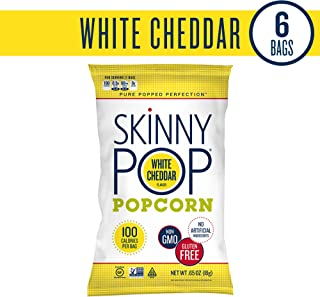 SKINNYPOP White Cheddar Popped Popcorn, 100 Calorie Bags, Healthy Snacks Individual Bags, Gluten Free Popcorn, 0.65 Ounce (Pack of 6), Non-GMO, No Artificial Ingredients, A Delicious Source of Fiber