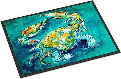 "Caroline's Treasures by Chance Crab in Aqua Blue Indoor or Outdoor Mat, 18"" x 27"", Multicolor"