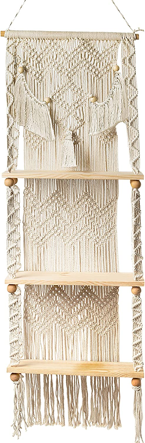 Livalaya Macrame Rope Hanging 3-Tier Floating Wall Shelves for Bedroom, Bathroom, and Nursery, Boho Wall Decor with Wood Shelves for a Cute Plant Shelf, Rustic Wood Picture Shelf, US Brand