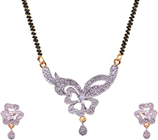 427002a128 Sitashi 18 K Gold Plated Floral Design AD American Diamond & White Crystal  Stone Fashion Jewelry