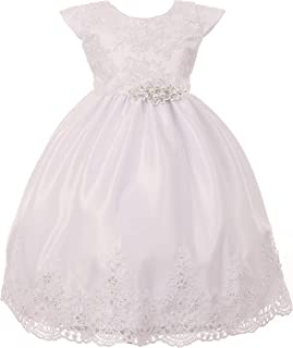 BluNight Collection Infant Baby Toddler Simple Beaded Lace Baptism Christening Flower Girl Dress USA