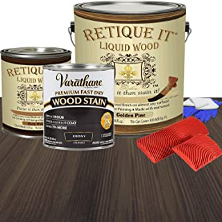 Retique It Liquid Wood - Paint it Then Stain it - Stainable Wood Fiber Paint - Put a Fresh Coat of Wood on it (128oz Gallon, 81. Ebony - Dark Over Golden Pine)