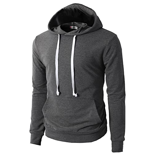 H2H Mens Casual Slim Fit Long Sleeve Color Block Hoodie V- Design line aae02e1a34eb