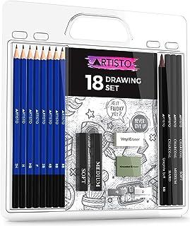 مجموعه مدادهای نقاشی و طراحی Artisto (18 مورد) ، ایده آل برای مبتدیان ، کودکان و نوجوانان یا هر هنرمند مشتاق ، شامل مدادها و میله های گرافیتی ، مدادهای ذغال سنگ ، پاک کن و برش