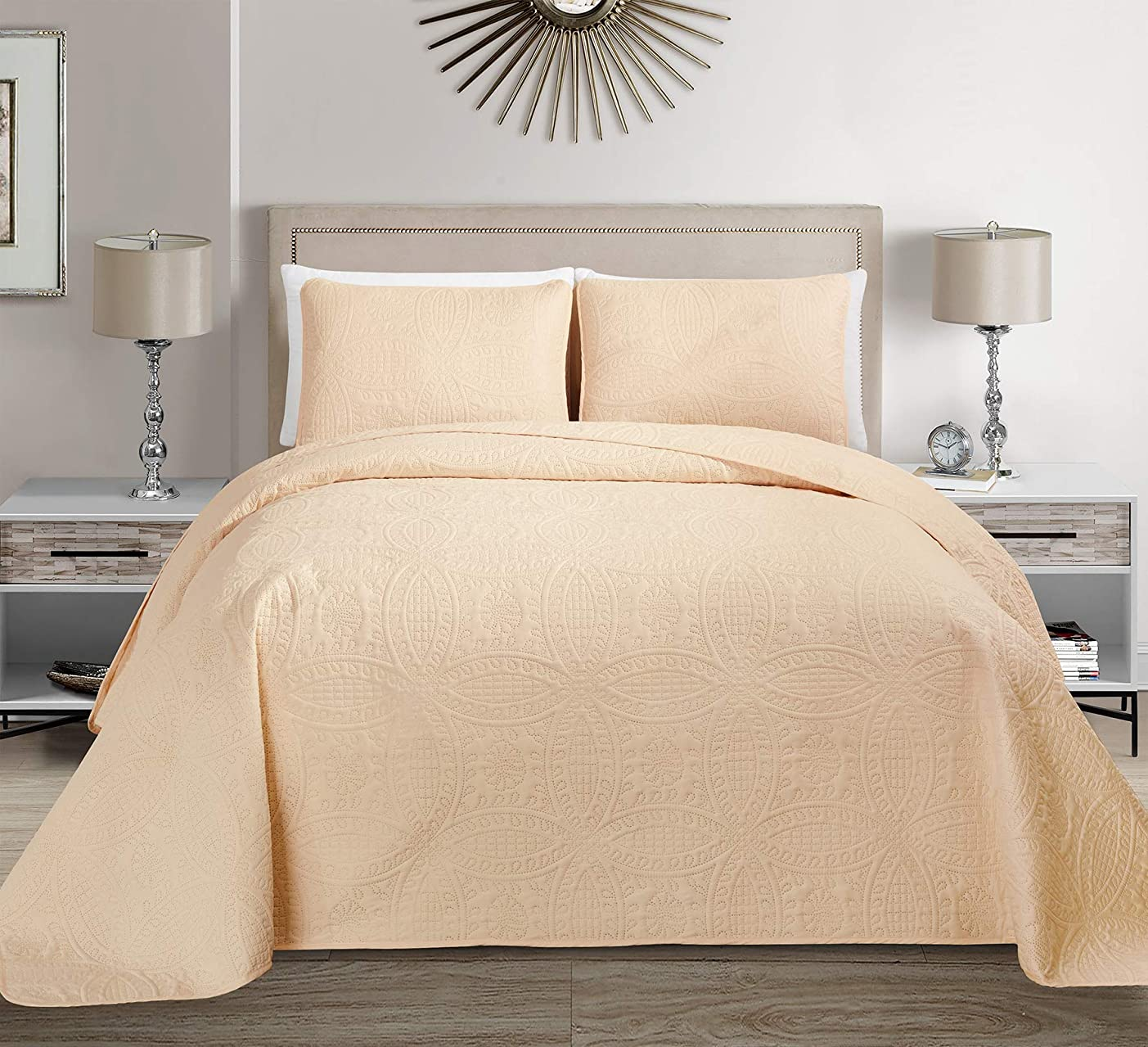 Linen Plus フル/クイーン 3点 オーバーサイズ エンボス加工 ベッドスプレッドセット アイボリー