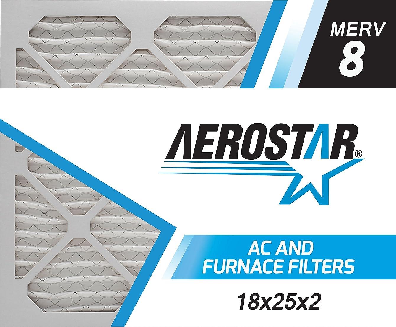 Aerostar 18x25x2 MERV 8, Pleated Air Filter, 18x25x2, Box of 6, Made in The USA