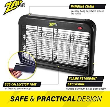 Zap It Electric Indoor Bug Zapper (2,800 Volt) Plug-in 360 Degree Mosquito, Bug, and Insect Killer, Non-Toxic Attractant UV L