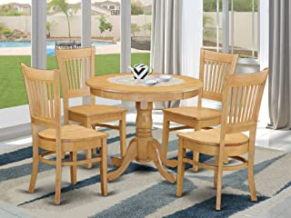 ANVA5-OAK-W 5 PC Table set - Kitchen Table and 4 Dining room chair