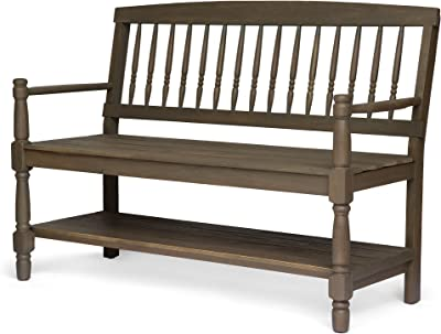 Christopher Knight Home 305335 Cody Outdoor Acacia Wood Bench with Shelf, Gray Finish