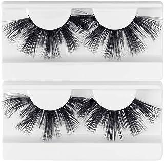 Lashes 25mm 6D Faux Mink Lashes 2 Pairs High Volume Dramatic False Eyelashes Fluffy Thick Crossed false Lashes (8-27) … …