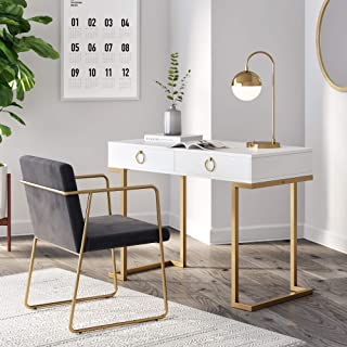 Nathan James Leighton Two-Drawer Home Office Computer Desk Vanity Table Wood and Metal, White/Gold