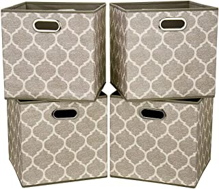i BKGOO Grandes bacs de rangement pliables Ensemble de 4 tiroirs en tissu Cubes Organisateur de panier avec deux poignées ...