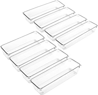 LotFancy Clear Plastic Drawer Organizers, 8 Pcs Storage Tray for Utensil, Silverware, Cutlery in Kitchen, Bathroom, Cabine...