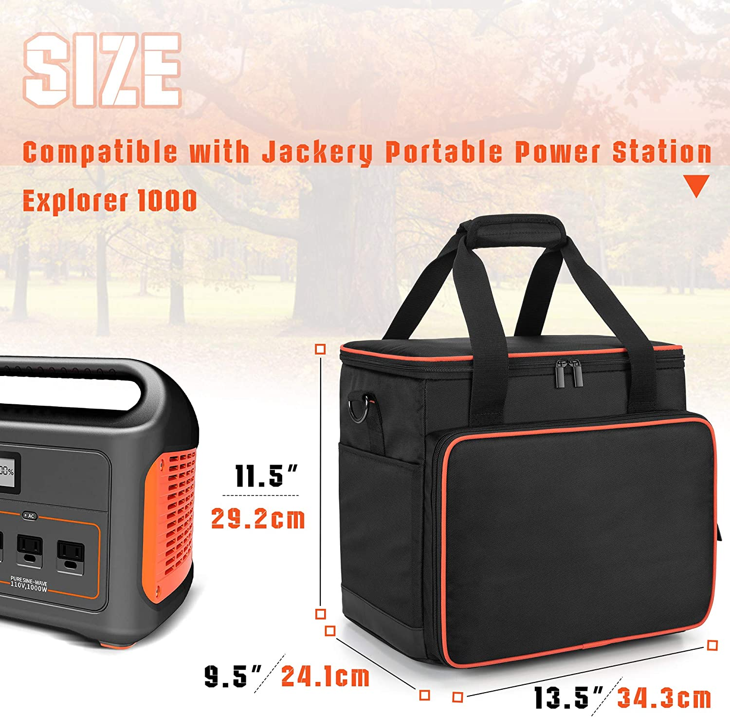 Trunab Travel Carrying Bag Compatible with Jackery Portable Power Station Explorer 160//240//300 Storage Case with Waterproof PU Bottom and Front Pockets for Charging Cable and Accessories
