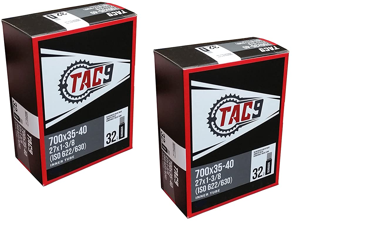 TAC 9 Tubes, 700 x 35-40 (27 x 1-3/8) Regular Schrader Valve, 32mm (ISO 622/630)